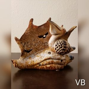 Coastal Seashell Pelican Ceramic Candle Holder.